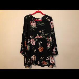 Black floral tie-sleeve dress